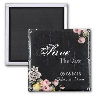 floral vintage Chalkboard wedding save the date Fridge Magnet