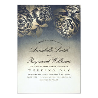 Floral Vintage Eclectic Blue and Gold Wedding Card