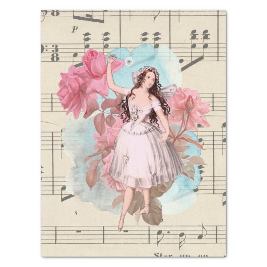Floral Vintage Fairy Dancer Ballerina Sheet Music