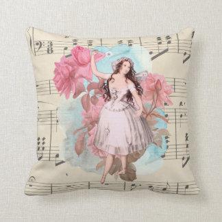 Floral Vintage Fairy Dancer Ballerina Sheet Music Cushion