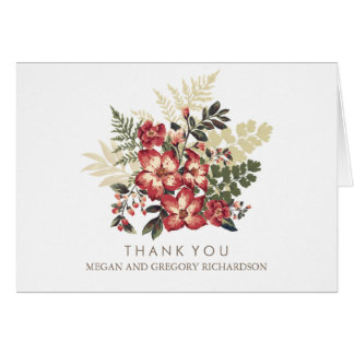 floral vintage fall burgundy wedding thank you card