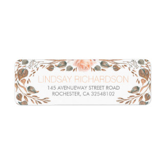 Floral Vintage Fall Woodland Garden Wedding Return Address Label