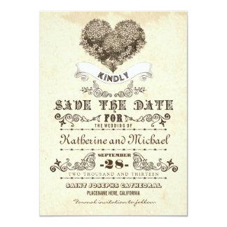 floral vintage heart unique save the date cards 11 cm x 16 cm invitation card