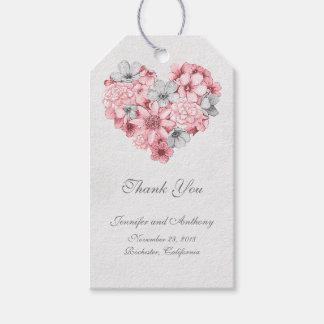 Floral Vintage Heart Wedding Gift Tags