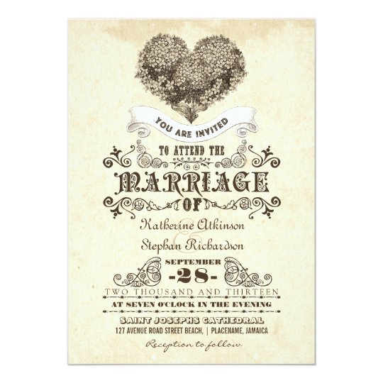 floral vintage heart wedding invitations