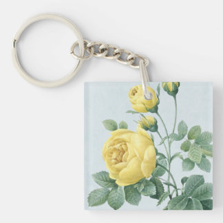 Floral vintage keychain w/ beautiful rose