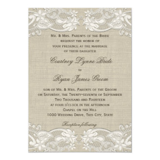 Floral Vintage Lace Design Wedding Card