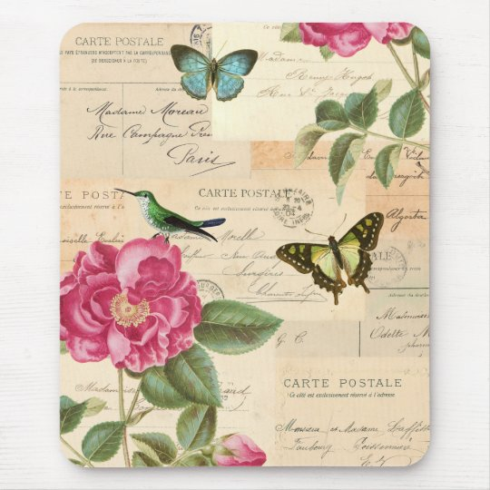 Floral vintage mousepad with rose and hummingbird