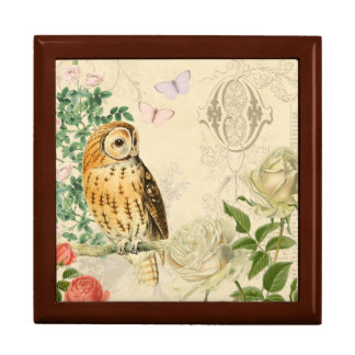 Floral vintage owl box with beautiful roses