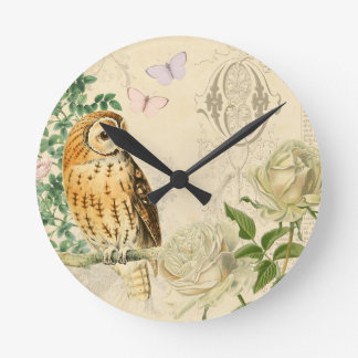 Floral vintage owl clock with beautiful roses