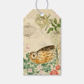 Floral vintage owl gift tags with beautiful roses