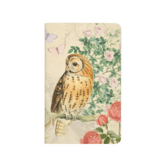 Floral vintage owl journal with beautiful roses