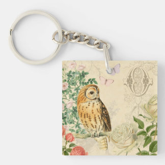 Floral vintage owl key ring with beautiful roses