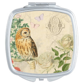 Floral vintage owl mirror with beautiful roses
