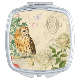 Floral vintage owl mirror with beautiful roses vanity mirrors