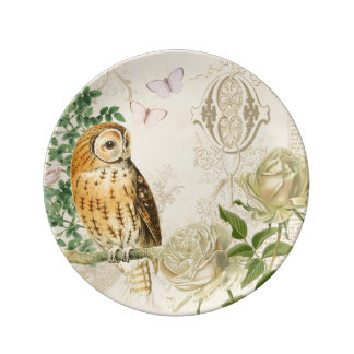 Floral vintage owl porcelain plate with roses