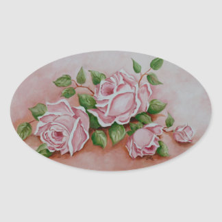 Floral Vintage Pink Rose Flowers - Shabby Chic Oval Sticker