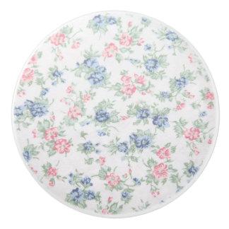 Floral vintage print ceramic knob