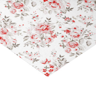 Floral Vintage Red Winter Roses Pattern Tissue Paper