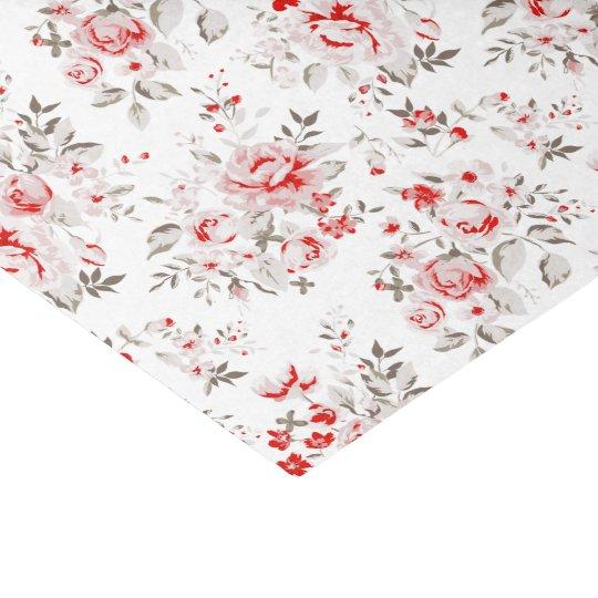 Floral Vintage Red Winter Roses Pattern Tissue Paper