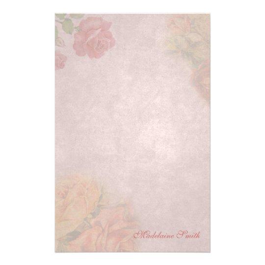 Floral Vintage Rose Custom Stationery
