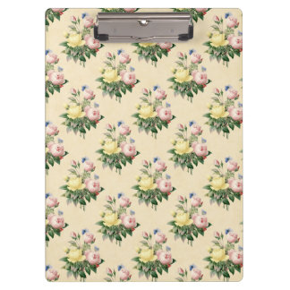 Floral vintage rose flower pattern clipboard