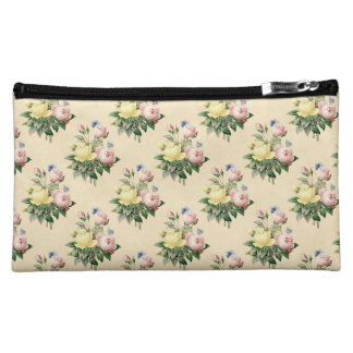 Floral vintage rose flower pattern cosmetic bag