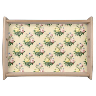 Floral vintage rose flower pattern serving tray