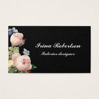 Floral vintage rose modern black business card