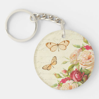 Floral vintage roses & butterflies keychain