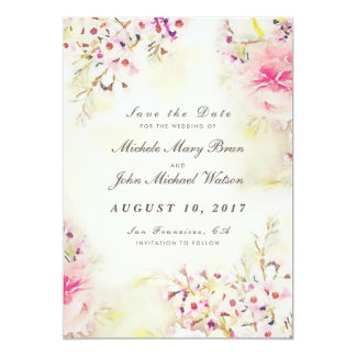 Floral Vintage Save The Date Photo Flat Card