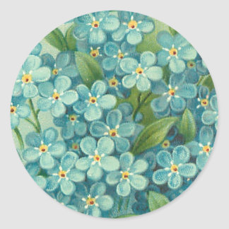 Floral vintage sticker with blue forget-me-nots