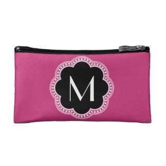 Floral Vintage Style Border Monogram Initial Cosmetic Bag