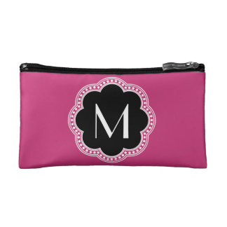 Floral Vintage Style Border Monogram Initial Cosmetics Bags