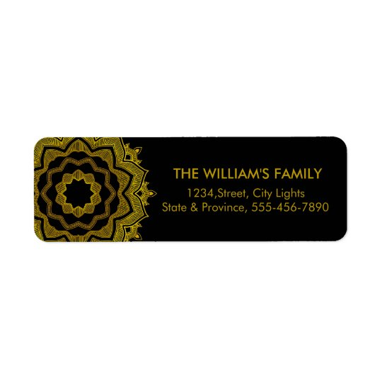 Floral Vintage Swirl Gold Black Return Labels
