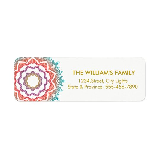 Floral Vintage Swirl Gold Return Labels