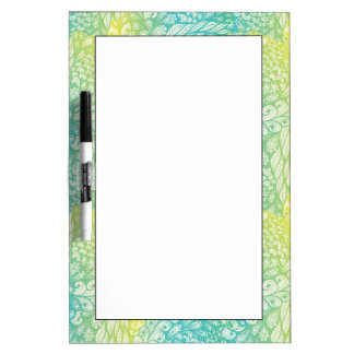 Floral Vintage Yellow And Blue Gradient Dry Erase Board