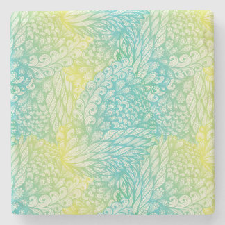 Floral Vintage Yellow And Blue Gradient Stone Coaster