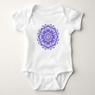 Floral violet mandala. Monogram. Baby Bodysuit