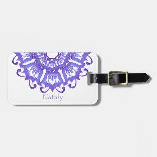 Floral violet mandala.Name. Luggage Tag