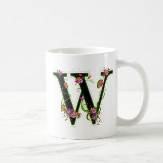 Floral W Basic White Mug