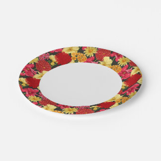 Floral wallpaper in watercolor style 7 inch paper plate