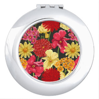 Floral wallpaper in watercolor style compact mirrors