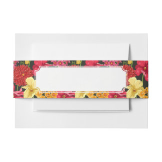 Floral wallpaper in watercolor style invitation belly band
