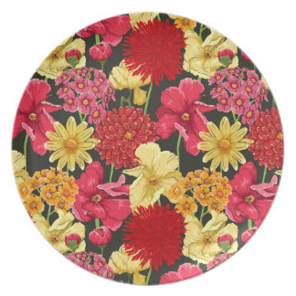 Floral wallpaper in watercolor style plates
