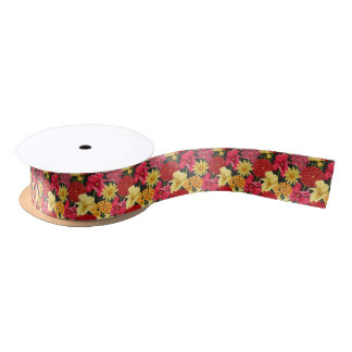 Floral wallpaper in watercolor style satin ribbon