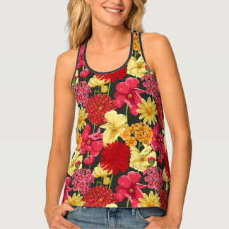 Floral wallpaper in watercolor style tank top