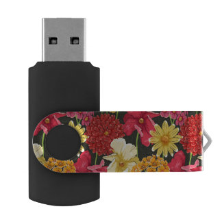Floral wallpaper in watercolor style USB flash drive