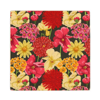 Floral wallpaper in watercolor style wood coaster