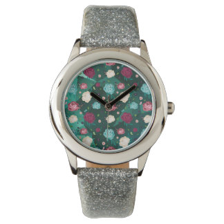 Floral Watch Silver Glitter